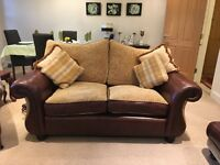 beautiful brown leather / paisley pattern suite for sale