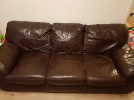 Brown leather sofa. Redditch.