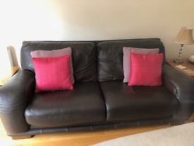 Two Brown Leather Sofa's, good condition.