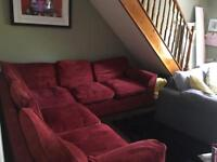 Red corner sofa... need gone today!