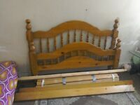 Pine wood double bed for sale