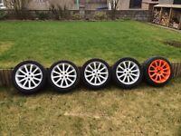 "MG TF set of 11 spoke 16"" alloy wheels and tyres (Yokohama AD08R tyres 215/45/16 205/45/16) MGF MGTF"