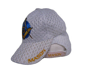 Mason Masons Freemason Masonic Lodge White Shadow Mesh Texture Ball Cap Hat
