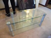 "FABULOUS CLEAR SAFETY GLASS TV TABLE 42"" UP TO 55"" TV"