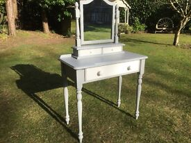 Hand Painted Solid Pine Dressing Table & Mirror