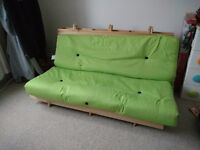 Changing Sofas Complete 3-Seater Futon, Green. Great condition, new last May.