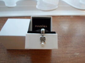 New Pandora Charm Angel Wings With Pearl