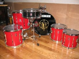 Classic 6 piece Premier drum kit in excellent condition with associated hardware - a beautiful kit.
