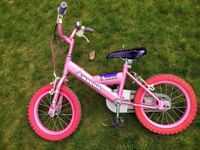 "Girls bike - 12"" wheels + stabilisers + dolls's seat"