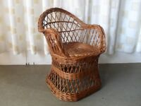 VINTAGE WICKER CHILDS CHAIR SEAT DOLLS CHAIR