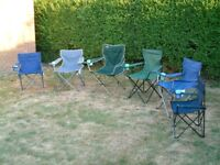 6 folding camping chairs. Tent, caravan, fishing, garden use, 2 new, 4 good condition, can separate.