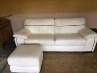 White Leather Settee Chair and Footstool