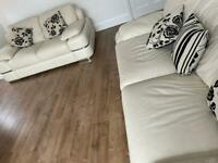 Cream Leather sofa set- Furniture Village