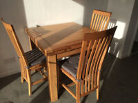 Oak extending table & chairs