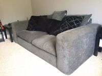 Large two seater charcoal grey fabric sofa - super comfy