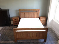 Kingsize oak bed/matching side tables for sale, excellent condition