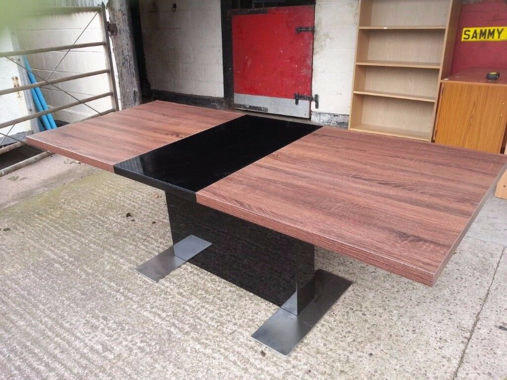 large Extending Modern Dining Table with Glass Inlay Delivery Available