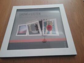 Show & Listen Vinyl Record Display Frame, White, New