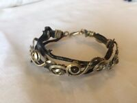Handmade black coral bracelet from Ecuador with natural stones, German silver