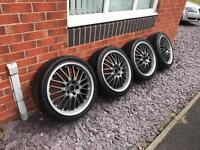"""18"""" deep dish chrome/black Alloy Wheels 225/40/18 Tyres 5x110 ET38 Vauxhall Astra"""