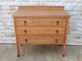 Unique Restored Solid Oak Chest of Drawers on castors (Delivery)
