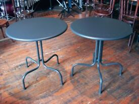 CIRCULAR TABLES FOR BAR, PARTY, KITCHEN ETC. STRONG METAL, WILL SEAT TWO TO THREE PEOPLE. MATT BLACK