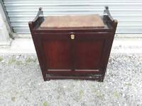 Antique dark wood piano stool with storage