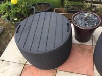 Round Keter rattan storage box/patio table/seat