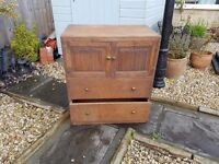 Antique handmade with brass handles rustic Oak chest of draws