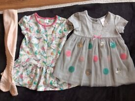6-12 months girl bundle - 2 x dresses (1 never worn, 1 worn once) & new Jasper Conran pink tights