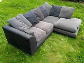 ***SOLD*** L Shaped Black and Grey sofa