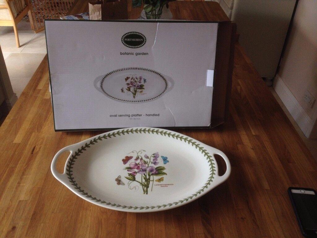 """Portmeirion 18"""" wide oval serving platter - handled"""