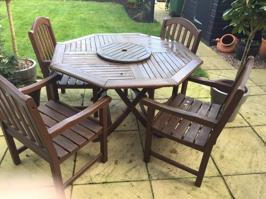 Dark wood garden furniture