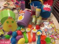 Easter bags baskets, egg & spoon race set, signs for Easter egg hunt, plastic eggs,disposable cups