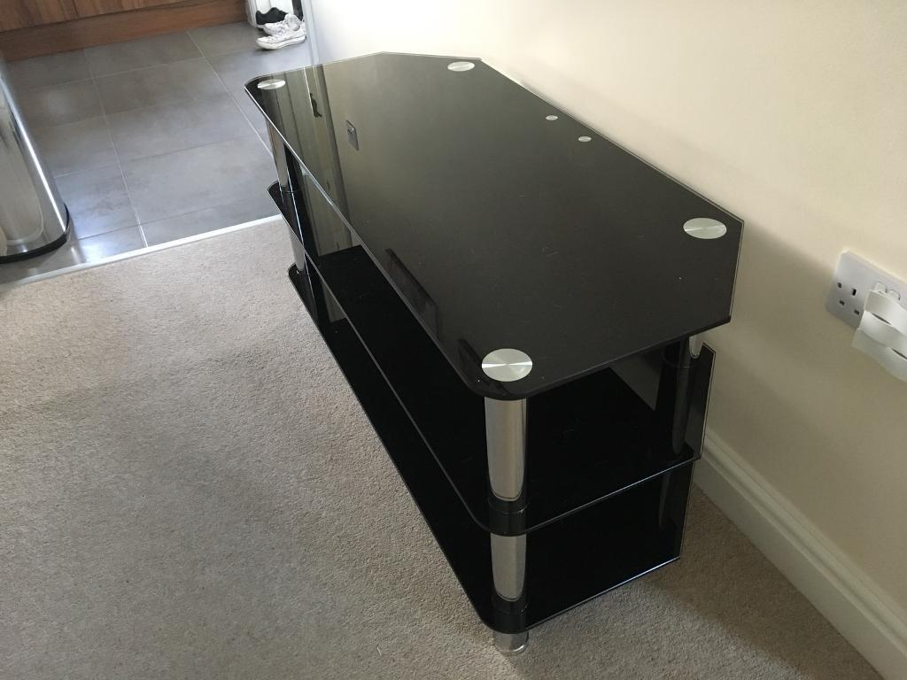 Tv Stand in Black smoked glass & chrome
