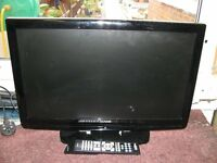 LUXOR Black 22 INCH COL TV With DVD, & Remote. Built In Freeview.