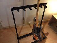 5 guitar stand upright folding black