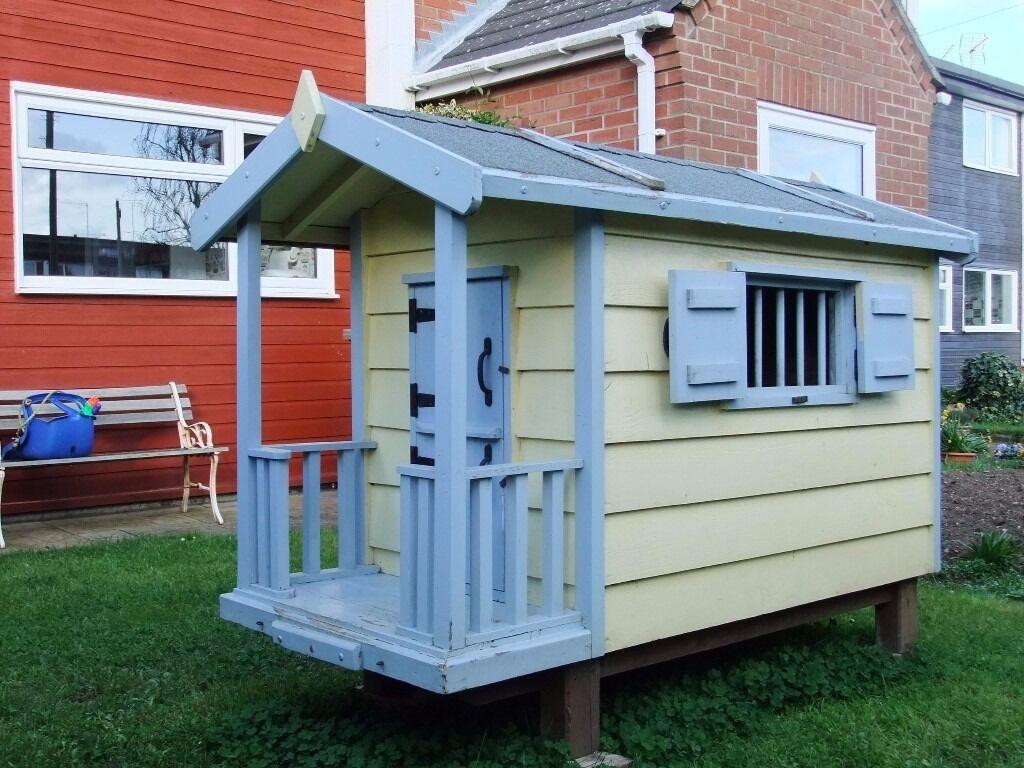 Children kids garden outdoor playhouse rabbit hutch hen for Used kids playhouse
