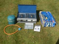 Campingaz Camping Chef camping cooker,ceramic grill, regulator, regulator and HALF FULL Gas bottle.