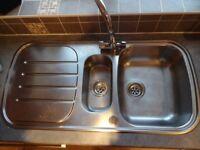Stainless steel 1.5 bowl sink - used