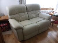 3 Piece Leather Suite, Ivory, with Lazyboy Recliners