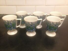 SET OF 6 VINTAGE TEA CUPS MUGS BLUE AND GREEN FOX GLOVES NO CHIPS IN MINT CONDITION