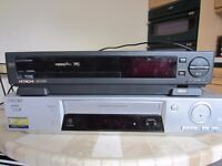 2x VHS recorders Hitachi / Sony +remotes incl 2 x 60 VHS tapes in cellophane wrapper all £20