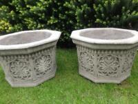 Large pair stone garden hexagonal planters, fantastic detail.