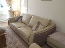 Large 4 seater sofa, cuddle chair and foot stool