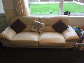 2 Matching Cream Leather 3 Seater Sofas