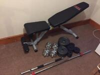 Iron weights set 100kg bench bars dip station pull up bar (like new)