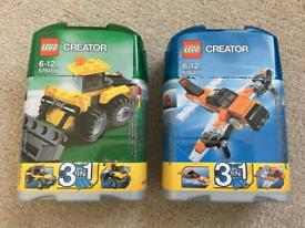 2 x Lego Creator 3-in-1 sets - Digger (5761) & Plane (5762)