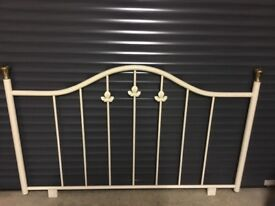 Ivory metal double bed headboard. REDUCED Really pretty with leaf detail.