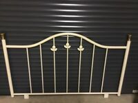 Ivory metal double bed headboard. Really pretty with leaf detail.